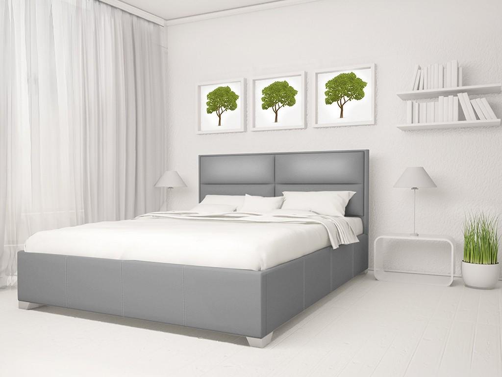 Серая кровать в белом интерьере
