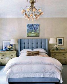 Серо-синяя кровать