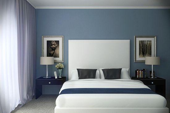 Синий оттенок современной кровати