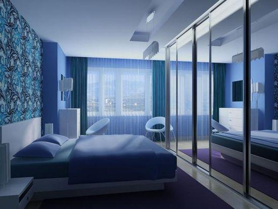 Синяя кровать для спальни