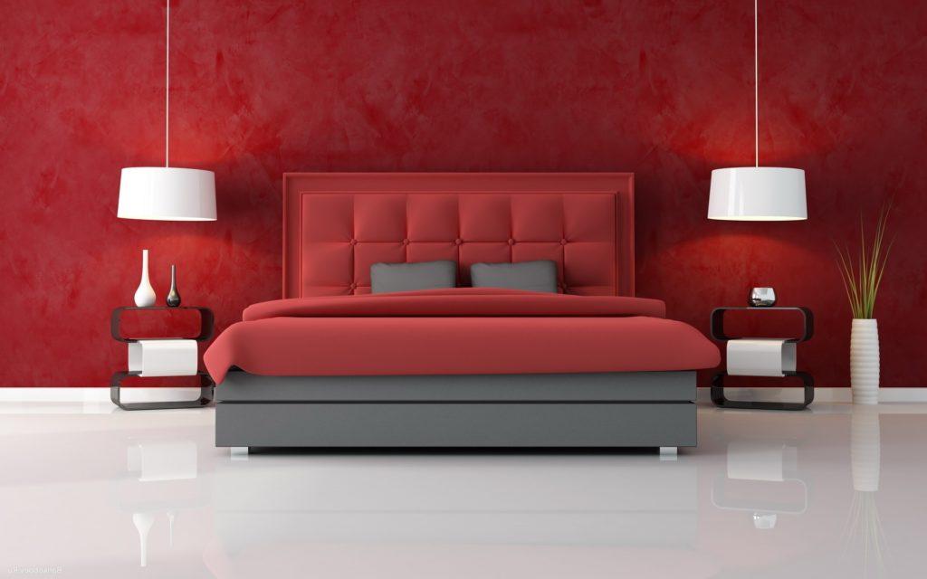 Современная красная кровать
