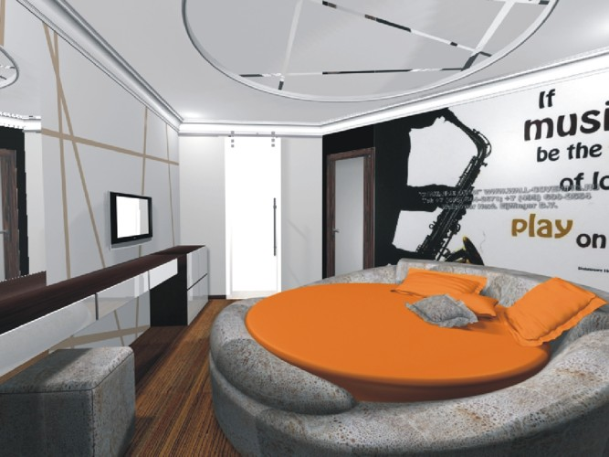 Современная кргуглая кровать, оформленная в оранжевом цвете