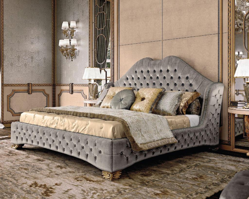 Современная серая кровать для дома