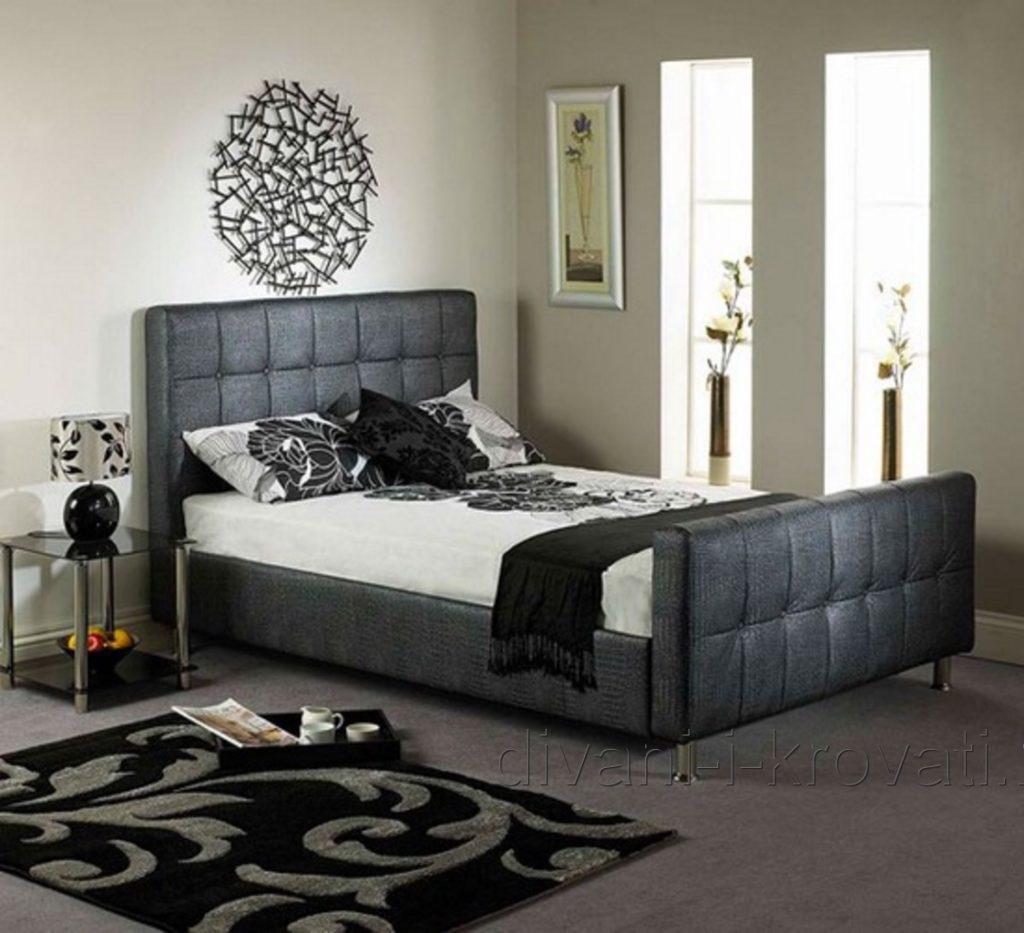 Современная серая кровать с мягким изголовьем