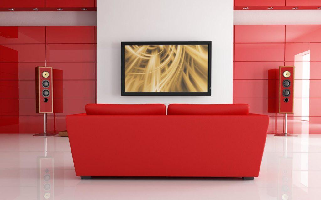Современный диван красного цвета