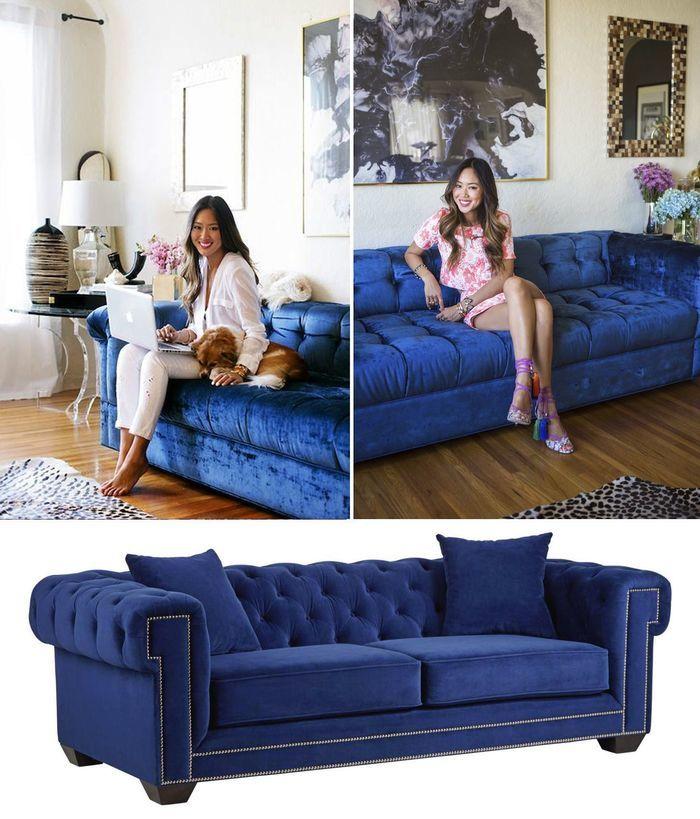 Современный диван, выполенный в синем цвете