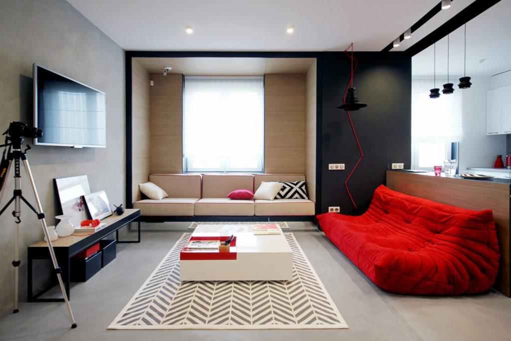 Современный дизайн бордового дивана