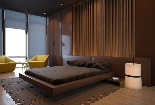 Современный дизайн кровати коричневого цвета