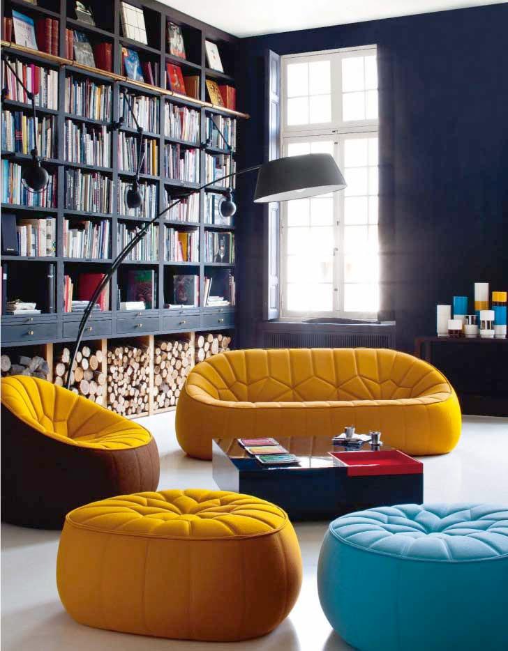 Современный дизайн желтого дивана для дома