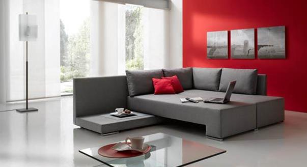 Современный стиль серого дивана