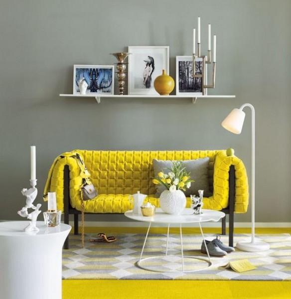Современный желтый диван