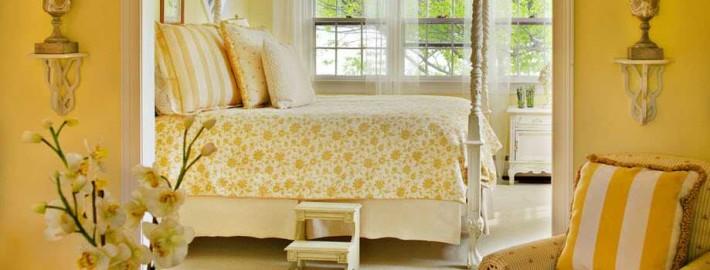 Светлый дизайн кровать желтого цвета