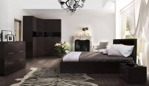 Темный оттенок коричневой кровати