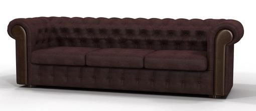 Тканевый стеганный диван коричневого цвета