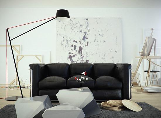 Трехместный диван черного цвета