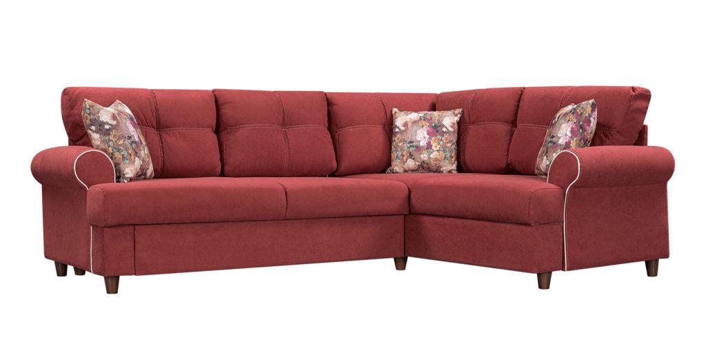 Угловой бордовый диван