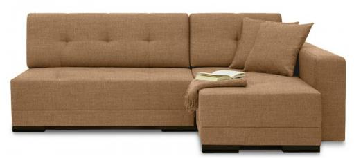Уголовой компактный диван коричневого цвета
