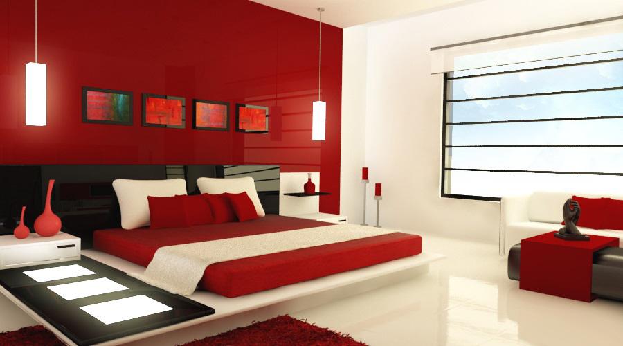 Уютная кровать красного цвета