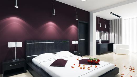 Вариант оформления спальни с черной кроватью