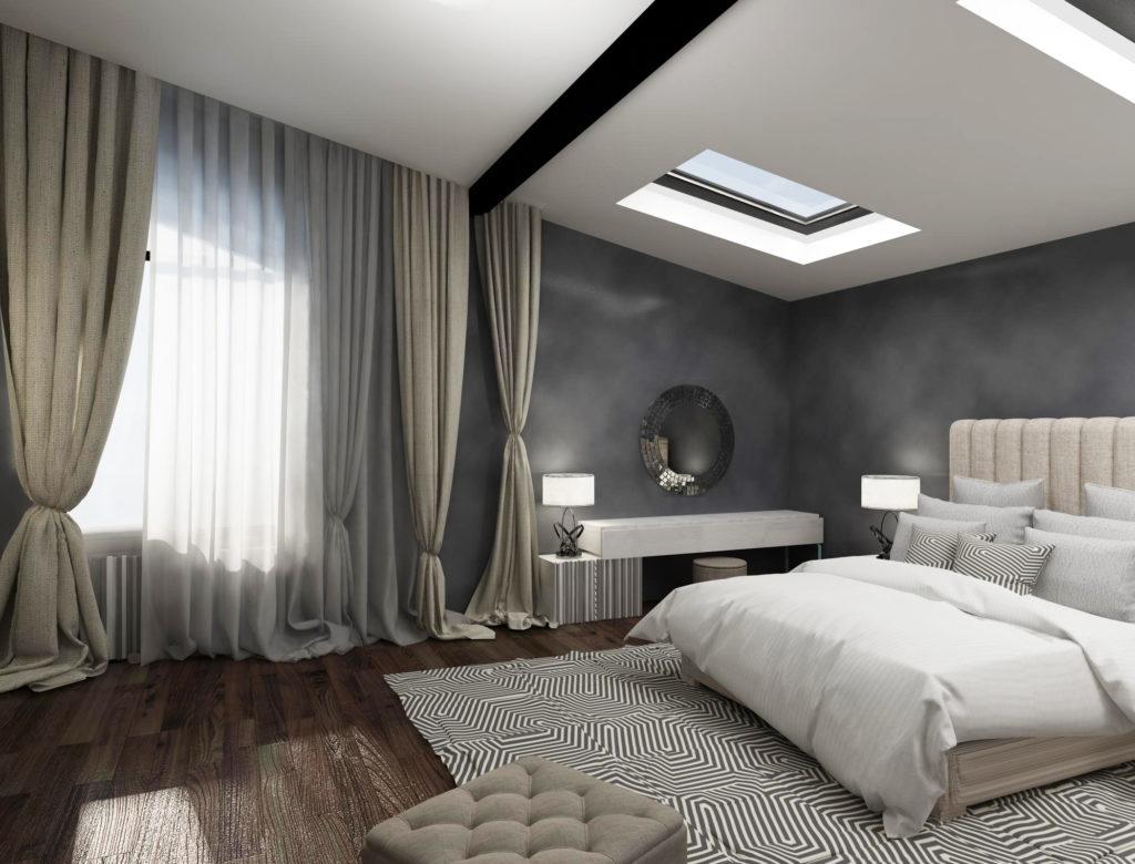 Вариант практичной кровати в сером цвете