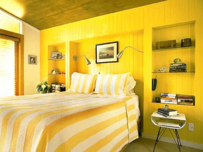 Вариант современной желтой кровати для дома
