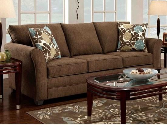 Варианты размещения коричневого дивана