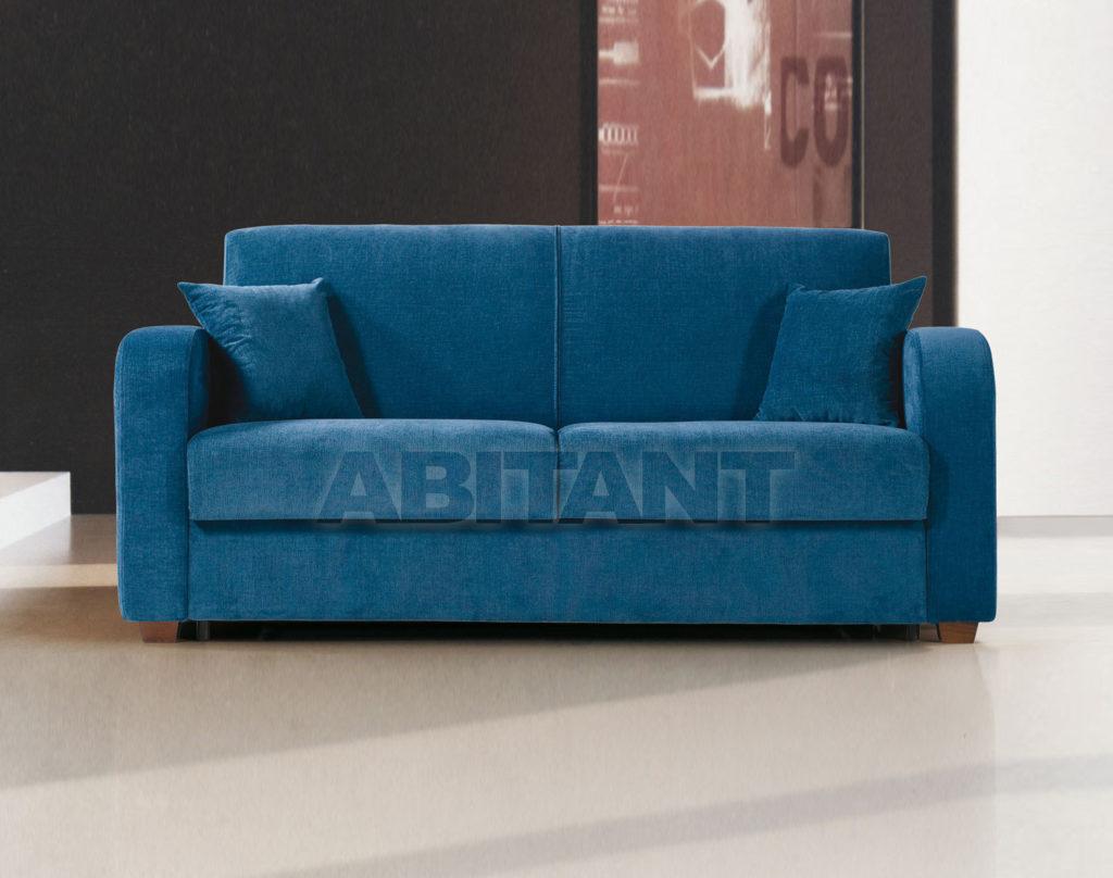 Велюровый синий диван для дома