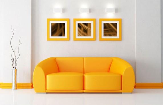 Яркий желтый диван для обустройства дома