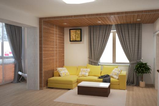 Желтый диван отлично впистывается в интьерьер дома