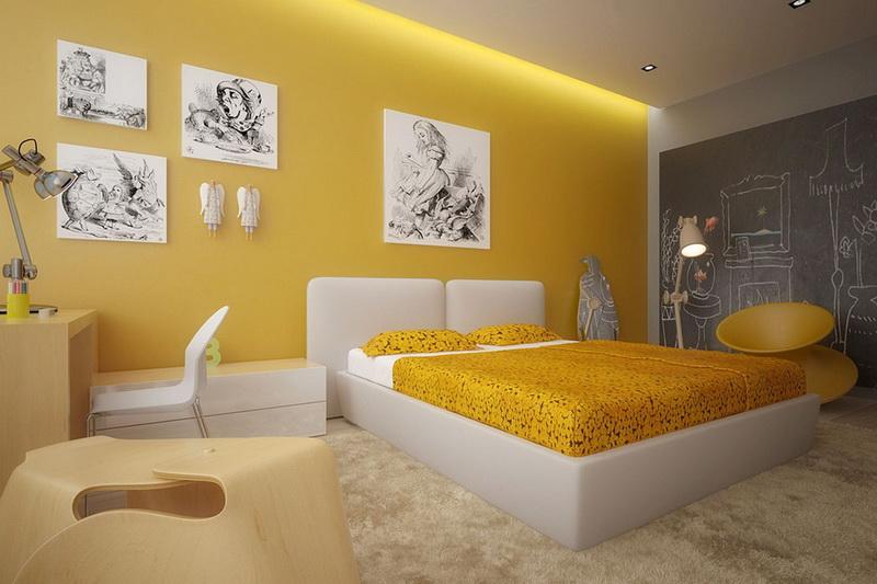 Желтый оттенок современной кровати