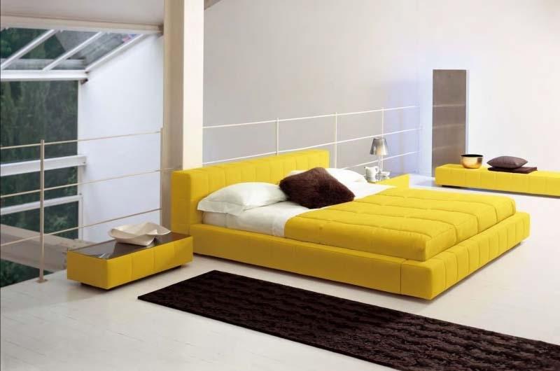 Желтый цвет современной кровати