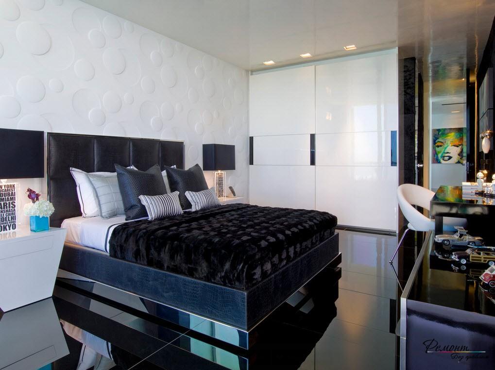 черная кровать в интерьере