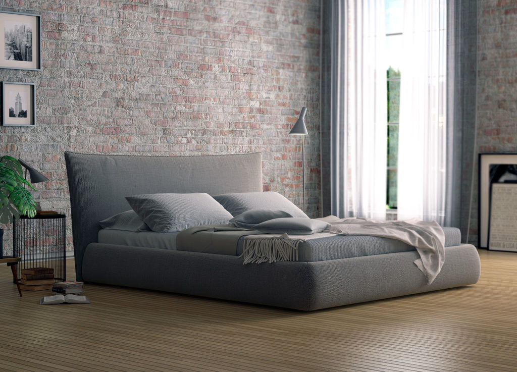 серая кровать без ножек