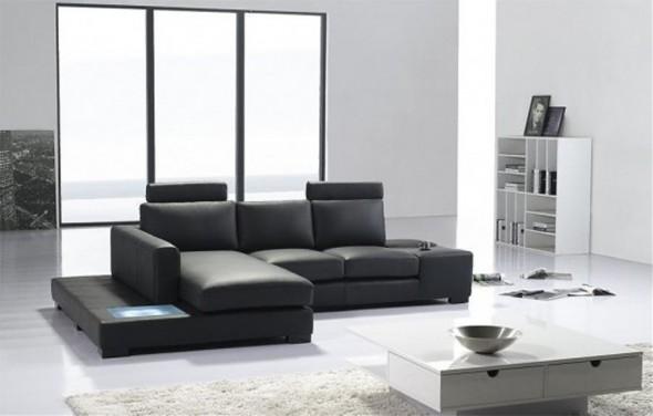 Черный диван из экокожи